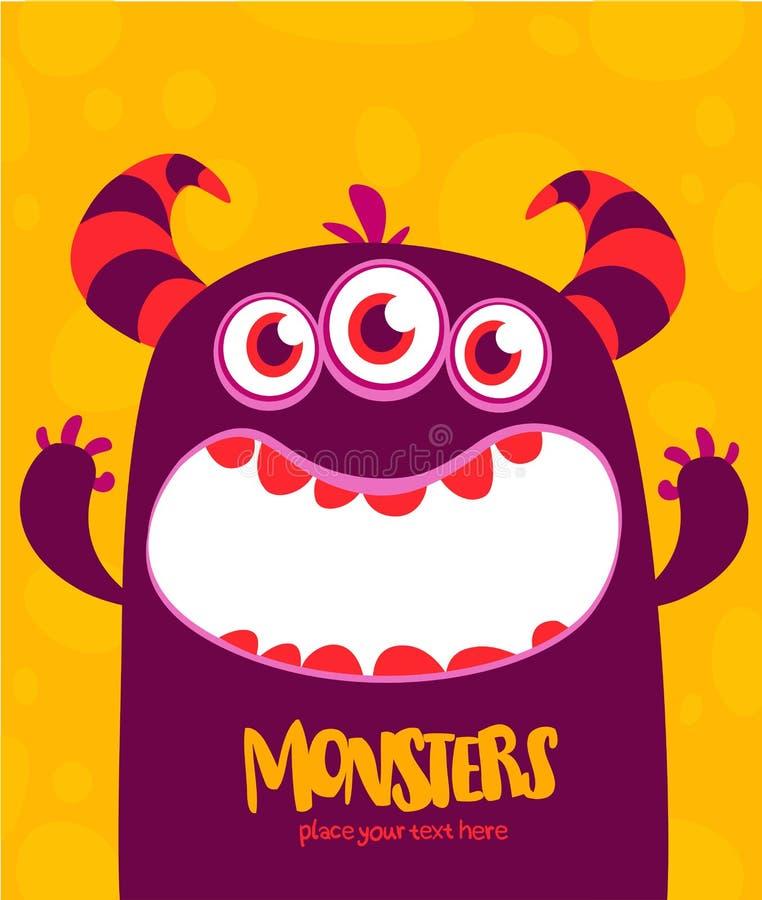 O estrangeiro do monstro do vetor de Dia das Bruxas com os três dentes grandes dos olhos e a boca abriram isolado largamente ilustração royalty free