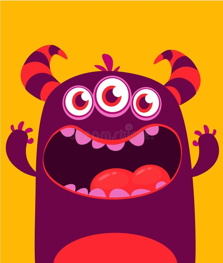 O estrangeiro do monstro do vetor de Dia das Bruxas com os três dentes grandes dos olhos e a boca abriram isolado largamente ilustração stock