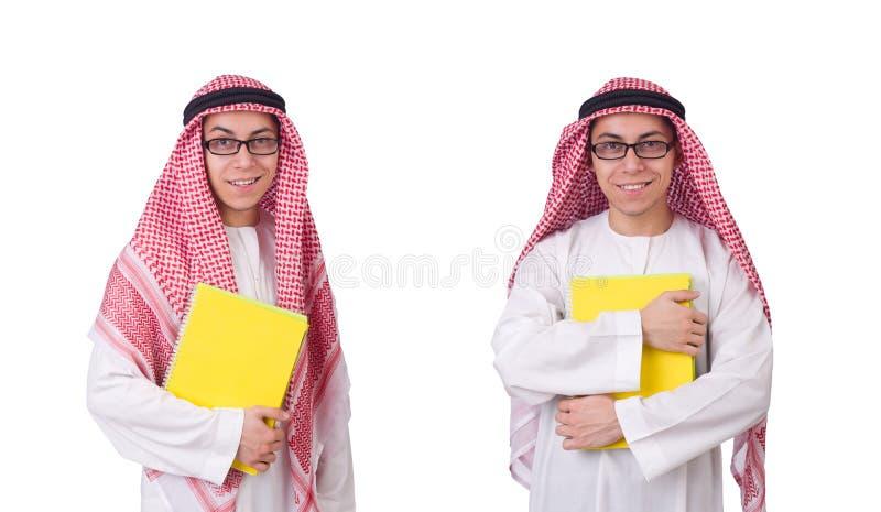 O estudante árabe isolado no branco imagens de stock royalty free