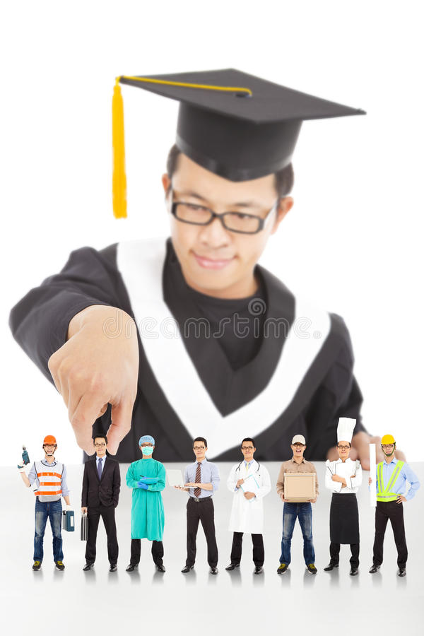 O estudante da graduação escolhe sua carreira no futuro imagem de stock
