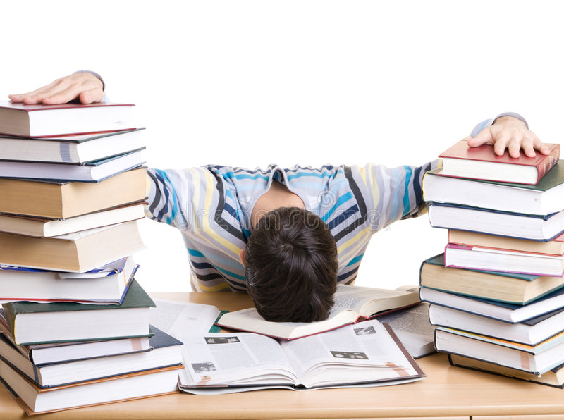 O estudante de sono com os livros isolados imagens de stock