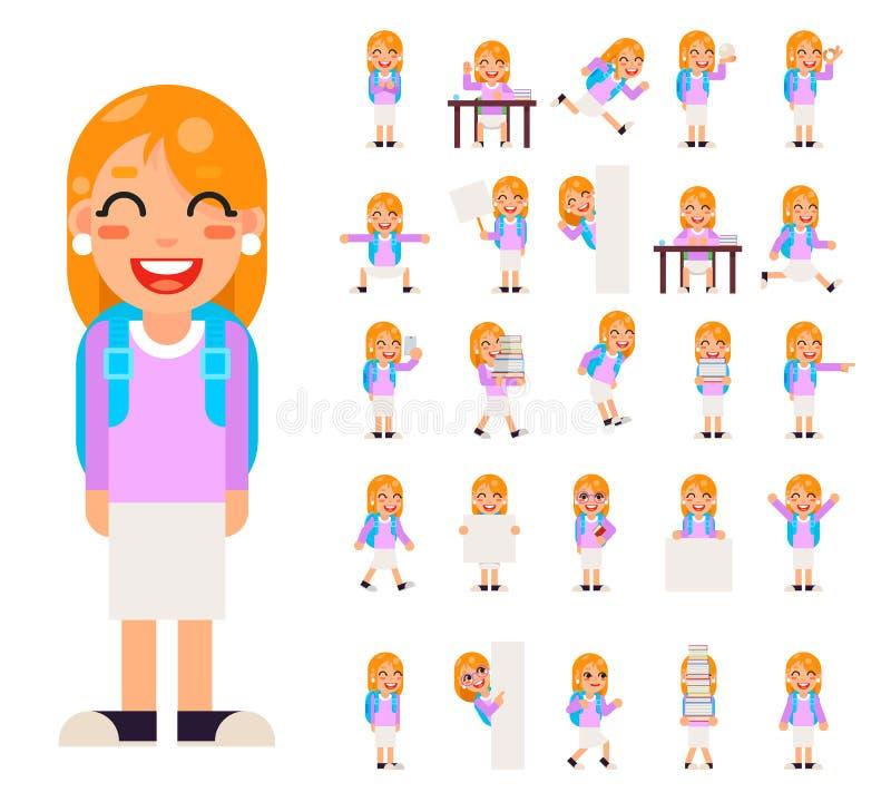 O estudante dos alunos da menina do aluno em poses diferentes e nos ícones adolescentes da criança dos caráteres das ações ajusta ilustração stock