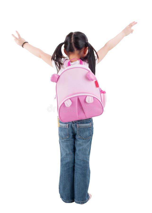 Download Criança Asiática Completa Da Opinião Traseira Do Corpo Com Schoolbag Foto de Stock - Imagem de realização, japonês: 29839646