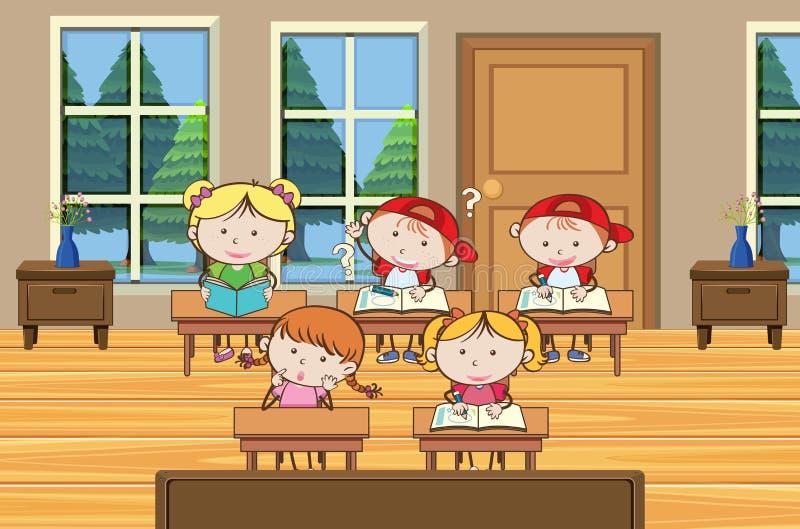O estudante está estudando na sala de aula ilustração royalty free