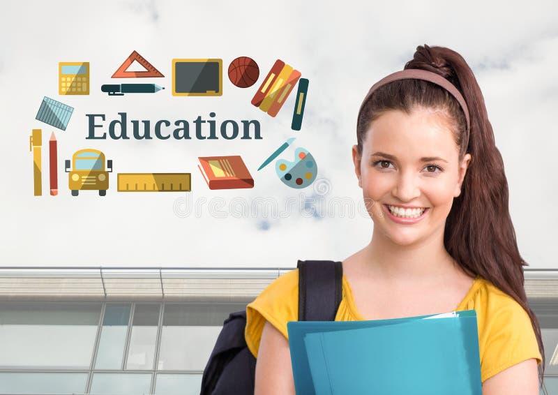 O estudante feliz e a educação text com gráficos dos desenhos ilustração stock