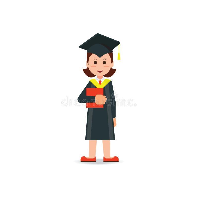 O estudante feliz graduou o chapéu e o vestido vestindo da placa do almofariz ilustração do vetor