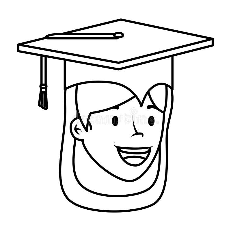 O estudante novo graduou o caráter principal da menina ilustração do vetor