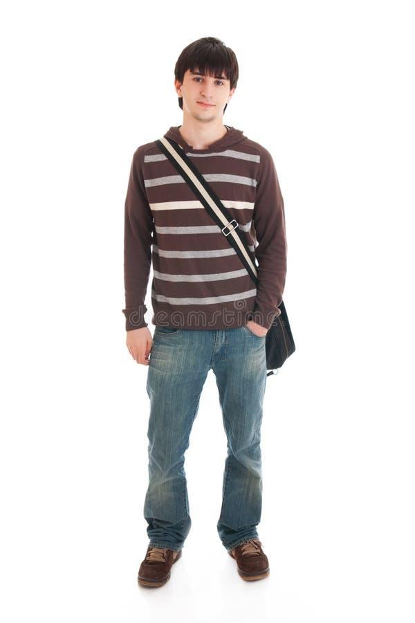 O estudante novo isolado em um branco fotos de stock royalty free