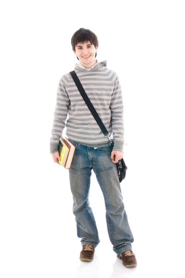 O estudante novo isolado em um branco fotografia de stock royalty free
