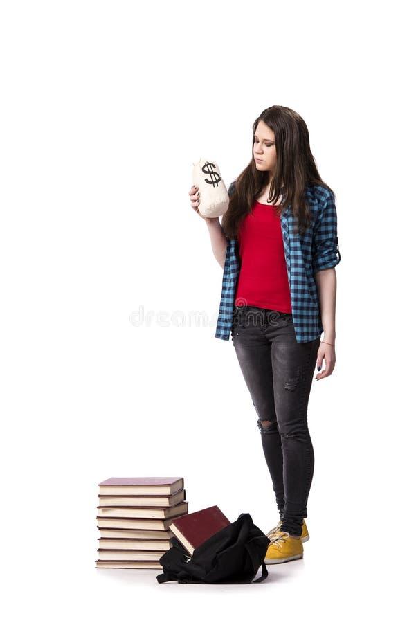 O estudante novo que prepara-se para exames da escola imagens de stock