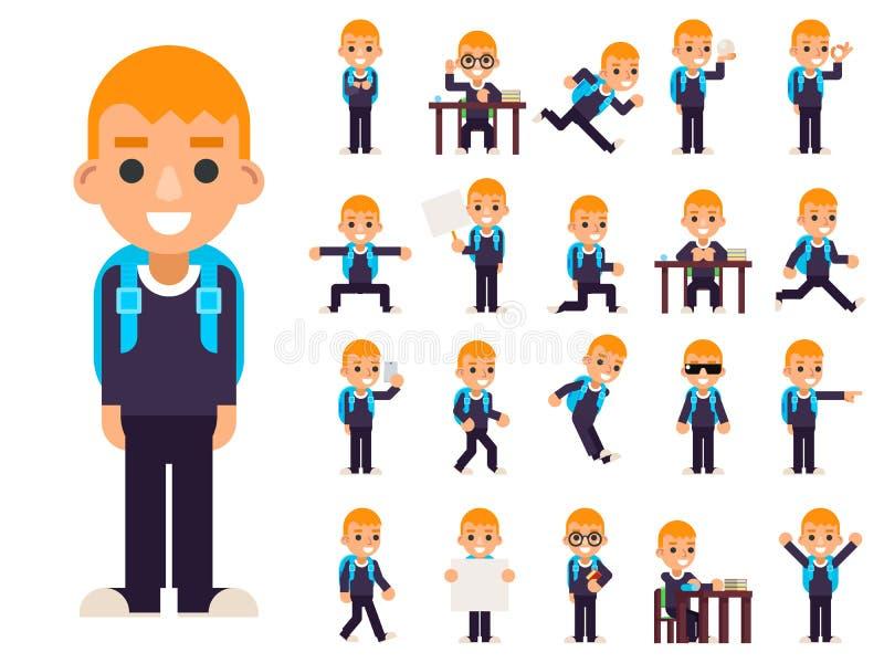 O estudante Pupil do menino de escola em poses diferentes e nos ícones adolescentes da criança dos caráteres das ações ajustados  ilustração stock