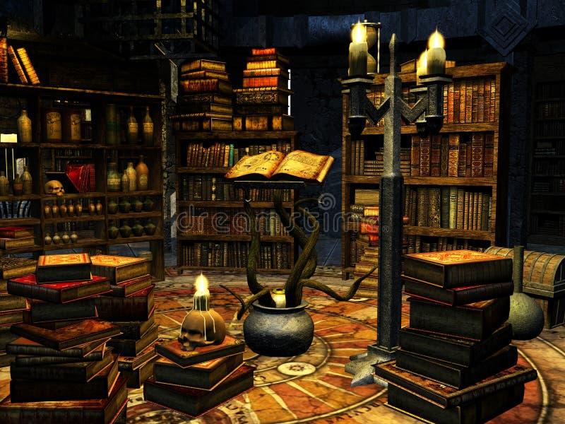 O estudo do mágico ilustração stock