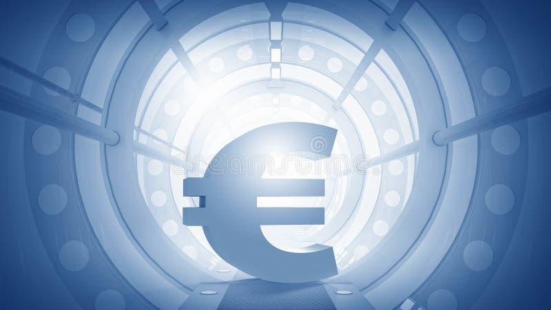 O Euro assina dentro a sala virtual Meios mistos ilustração do vetor