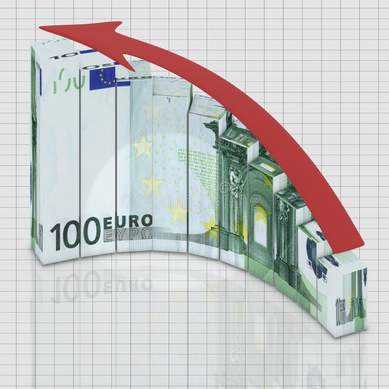 O euro do gráfico cresce ilustração stock