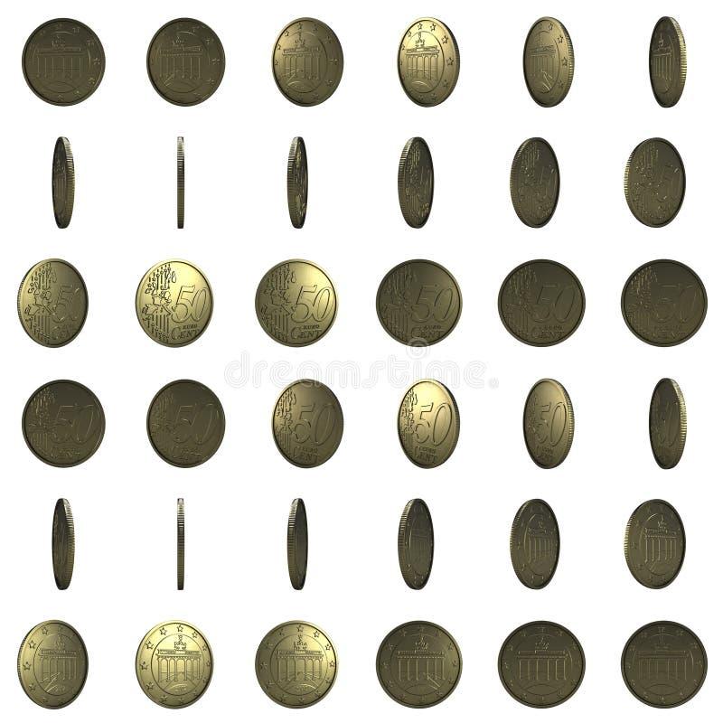 O Euro inventa para a animação isolado no fundo branco centavo 50 3d ilustração stock