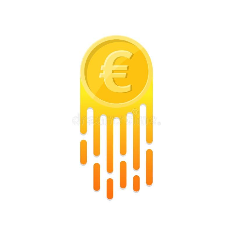O euro- símbolo crescente ilustração do vetor