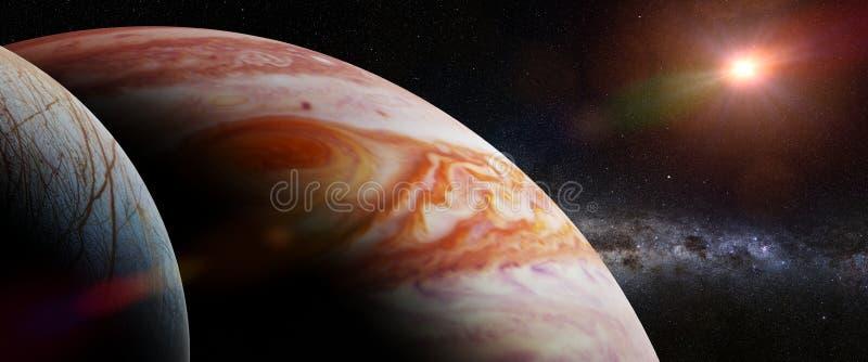 O Europa da lua do ` s do Júpiter, o Júpiter do planeta, a Via Látea e a bandeira da ilustração de Sun 3d, elementos desta imagem ilustração stock
