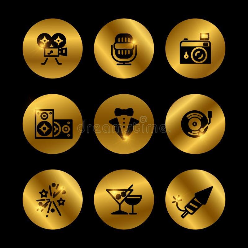 O evento, partido, concede o preto e os ícones do ouro ilustração do vetor