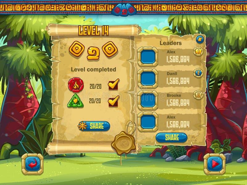 O exemplo do nível de desempenho da tela do jogo para o computador GA ilustração royalty free