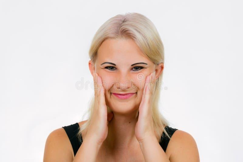O exercício da cara para mulheres empurra e sorri imagens de stock royalty free