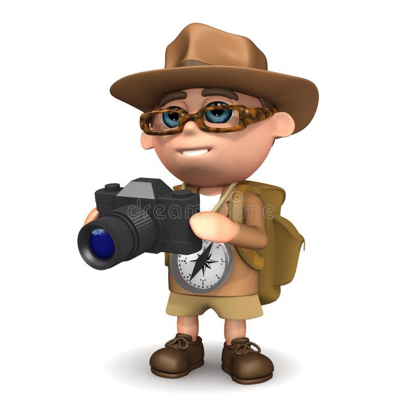 o explorador 3d toma uma foto ilustração stock
