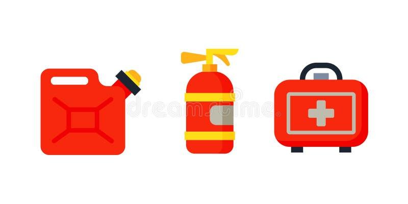 O extintor isolado e os cuidados médicos do cartucho do carro de segurança jogo médico projetam o transporte do caso do ícone da  ilustração royalty free