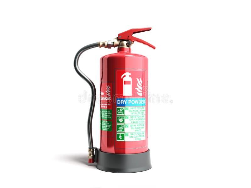 O extintor seco 3d do poder rende no fundo branco ilustração do vetor