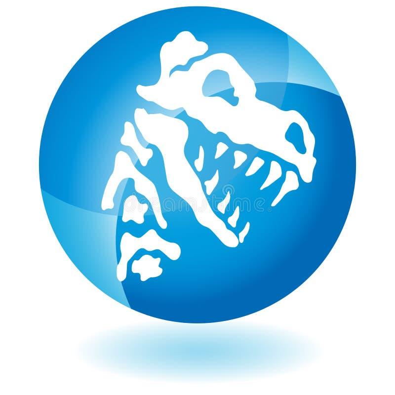 O fóssil de dinossauro desossa o botão ilustração royalty free