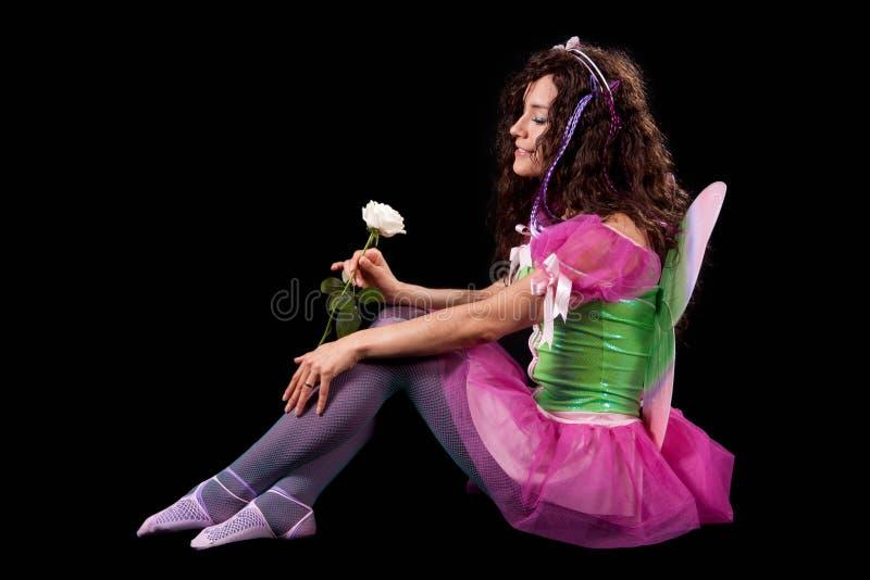 O Fairy com branco levantou-se imagens de stock royalty free