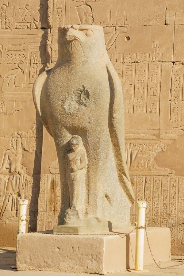 O falcão Horus no templo imagem de stock