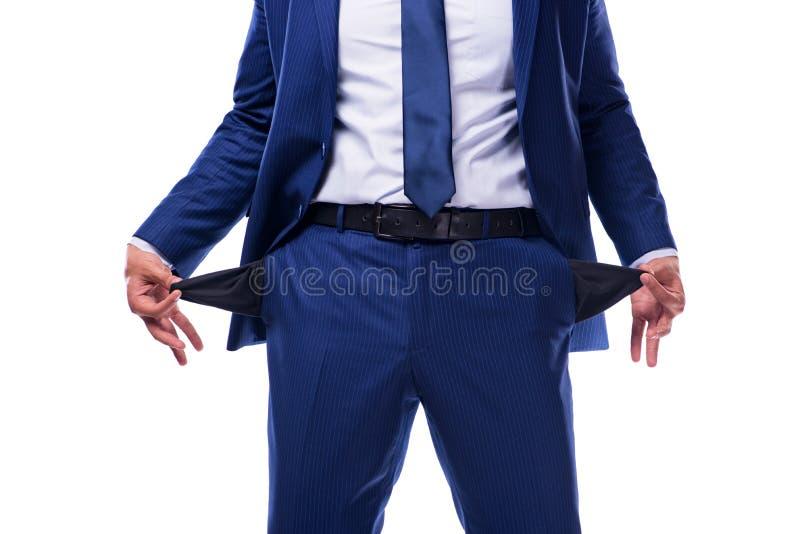 O falido quebrou o homem de negócios isolado no branco imagens de stock
