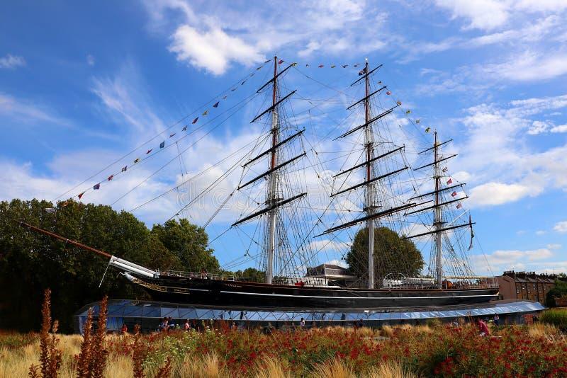 O Famoso Navio Cutty Sark Tea Clipper Encaixado Em Greenwich, Londres, Inglaterra imagem de stock royalty free