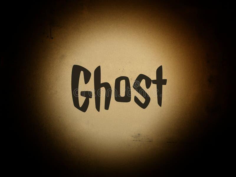 O fantasma da palavra na página com ponto claro ilustração do vetor