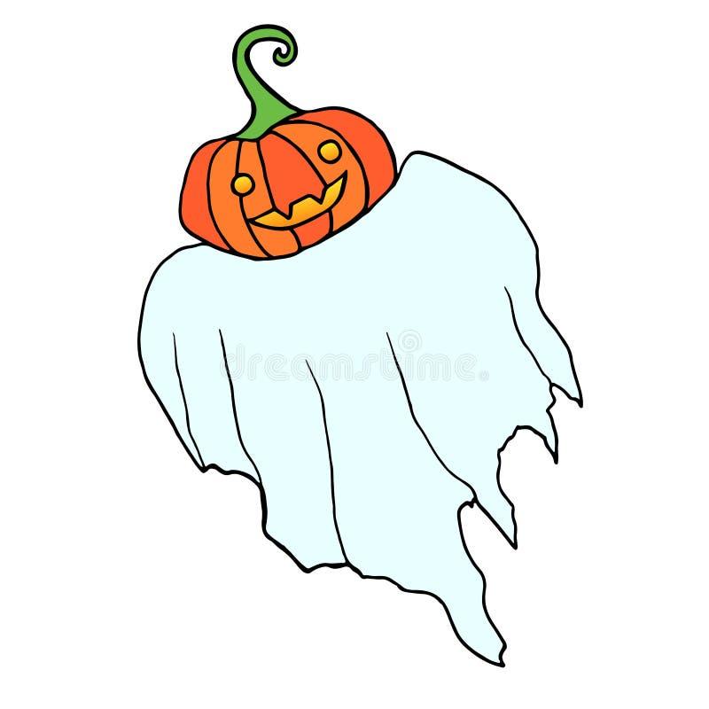 O fantasma engraçado do voo com uma abóbora em vez de uma cabeça, é isolado ilustração stock