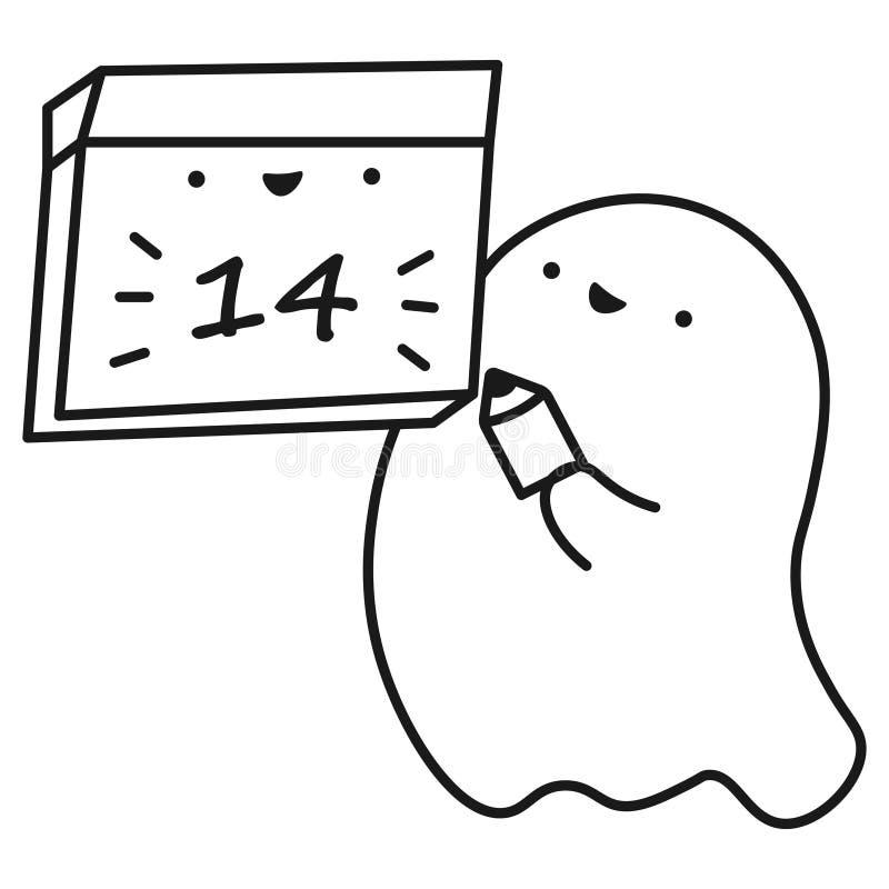O fantasma engraçado mantém o calendário com a data do mês ilustração royalty free