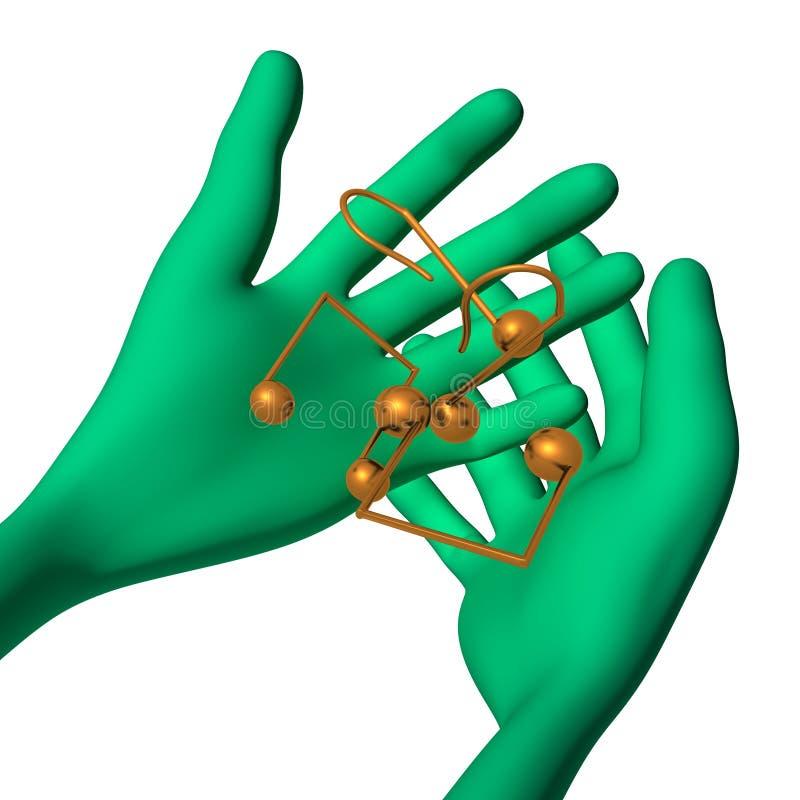 Download O Fantoche 3d Verde Tem Notas Pequenas Ilustração Stock - Ilustração de marketing, pose: 26501583