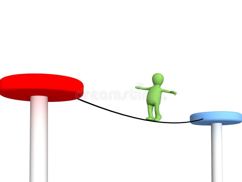 O fantoche da pessoa, indo em uma corda ilustração stock