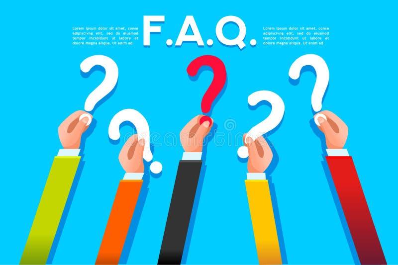 O FAQ pede ou pergunta o conceito estilo liso ilustração stock