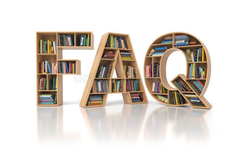 O FAQ pediu frequentemente o conceito das perguntas Estante com o livro em f ilustração stock