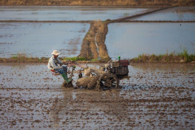 O farme vietnamiano monta um trator em 26 de dezembro de 2013 foto de stock royalty free