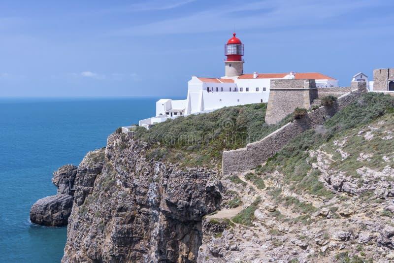 O farol de Cabo faz o Sao Vicente Cape Vincente imagem de stock