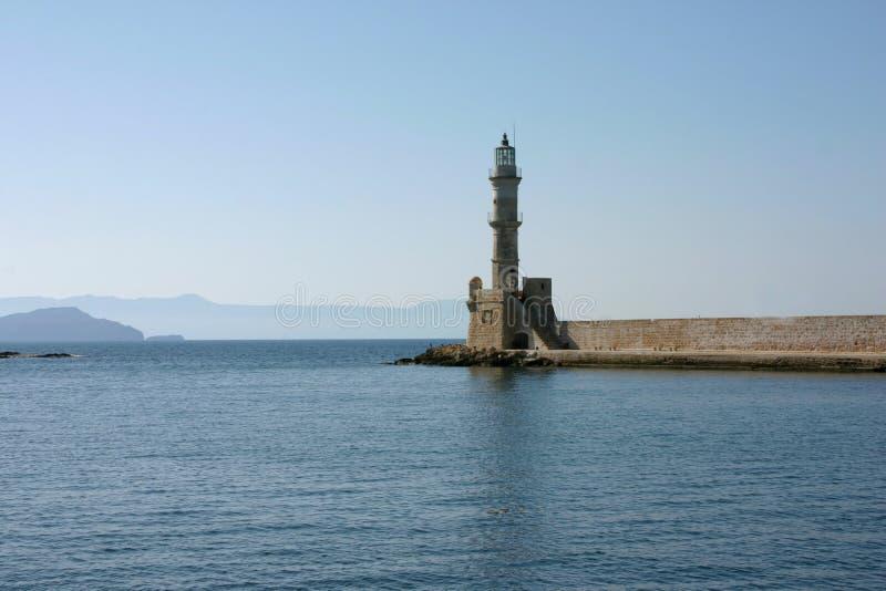 O farol de Heraklion na Creta da ilha imagens de stock