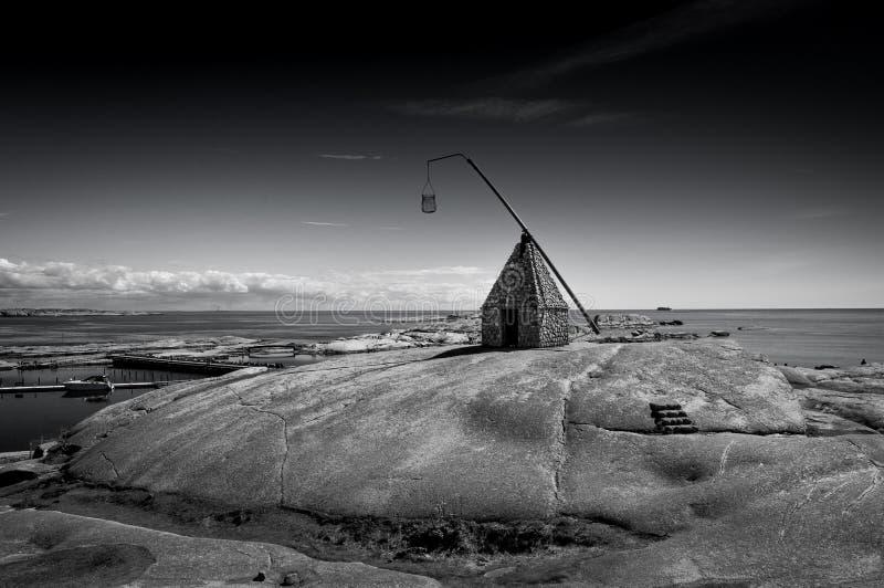 O farol na extremidade de Verdens, Noruega imagem de stock