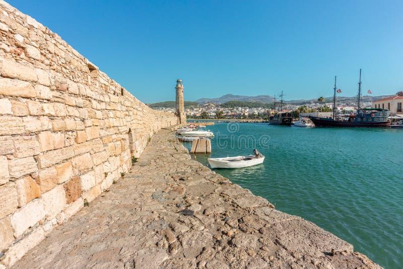 O farol velho de Rethymno, Creta, Grécia foto de stock