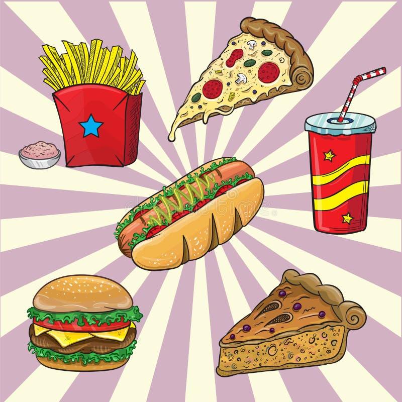 O fast food é um tipo de alimento produzido em massa projetado para a revenda comercial e com uma prioridade forte colocada 'na v ilustração do vetor