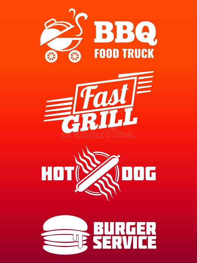 O fast food etiqueta a coleção - projeto da bandeira do BBQ, do fast food e do hamburguer ilustração stock