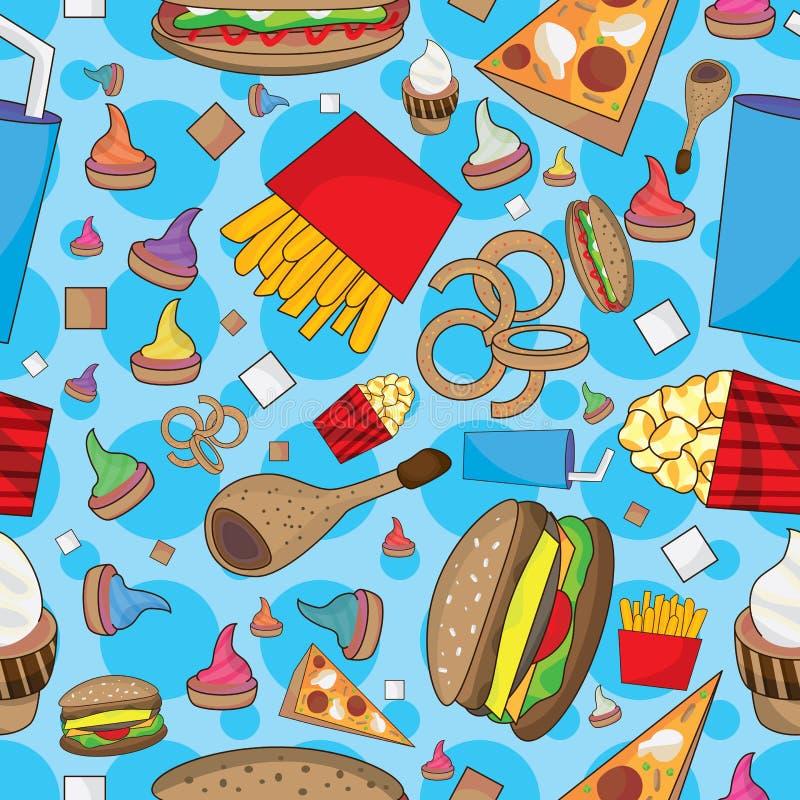 O fast food muitos pode comer o teste padrão sem emenda ilustração royalty free