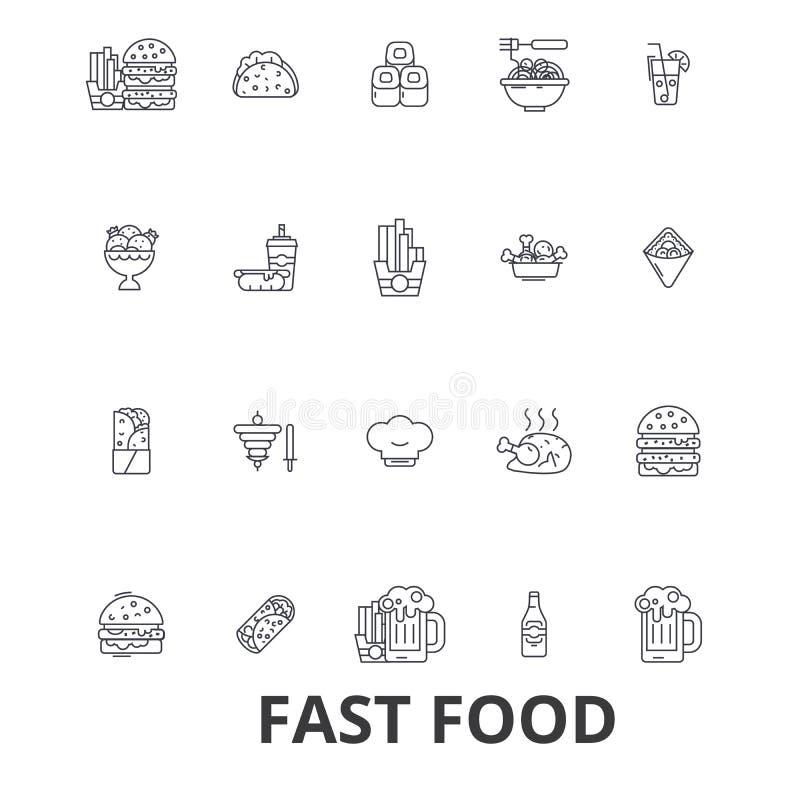 O fast food, restaurante, pizza, Hamburger, hamburguer, sucata, cachorro quente, batatas fritas alinha ícones Cursos editáveis Pr ilustração stock