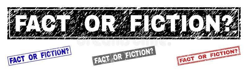 O FATO OU a FICÇÃO do Grunge questionam selos Textured do retângulo ilustração do vetor