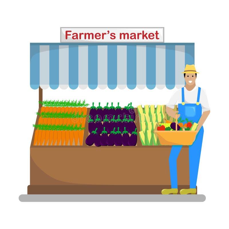 O fazendeiro com uma cesta dos vegetais e do fruto nos fazendeiros ilustração royalty free